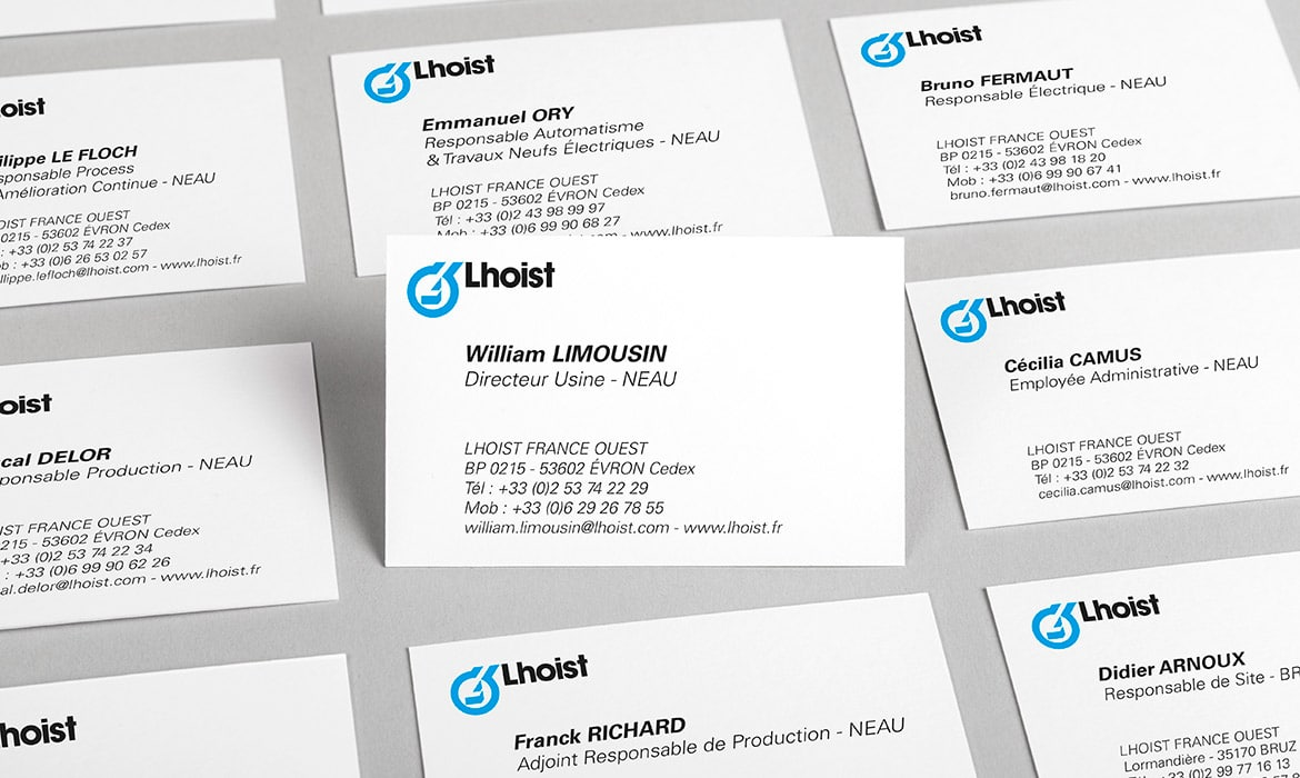 cartes de visite William Limousin et personnel de Lhoist France Ouest