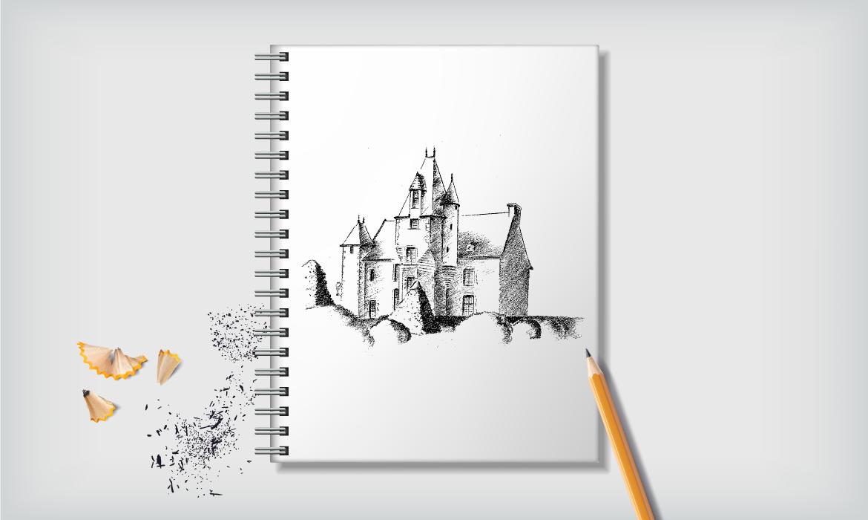 dessins au crayon pour la carte de vœux 2020 mairie de Pirmil Sarthe