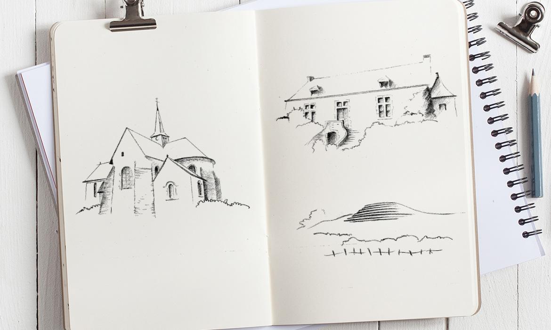 dessins au crayon pour la carte de vœux 2020 mairie de Pirmil