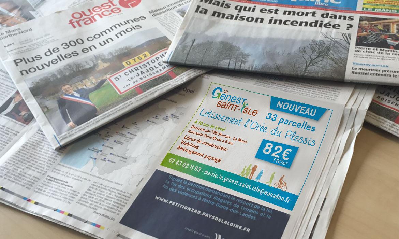 Parution Ouest France pour le lotissement du Genest St-Isle